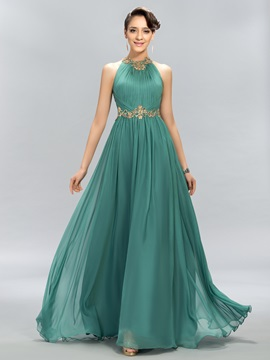 Stunning Jewel Neck Beading A-Line Long Evening Dress Designed