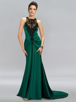 Elegant Appliques Sequins Backless Long Evening Dress Designed