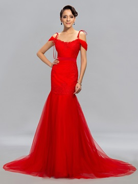 Trumpet Lace Appliques Long Evening Dress Designed