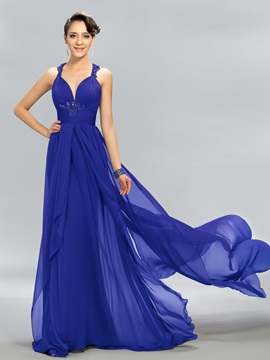 Elegant Halter Beading Watteau Train Long Evening Dress Designed