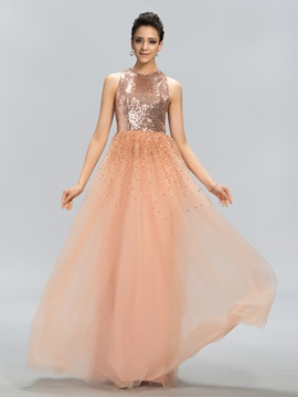 Shining A-Line Jewel Neck Sequins Long Evening Dress Designed