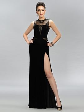 Timeless Jewel Neck Appliques Split-Front Long Evening Dress Designed