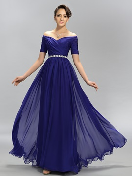 Eye-catching A-Line Off-the-Shoulder Crystal Pleats Long Evening Dress Designed