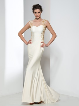 Elegant Scoop Neck Appliques Pearls Sheath Evening Dress