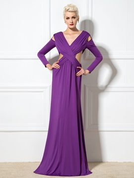 Sexy V-Neck A-Line Hollow Split Long Sleeves Long Evening Dress