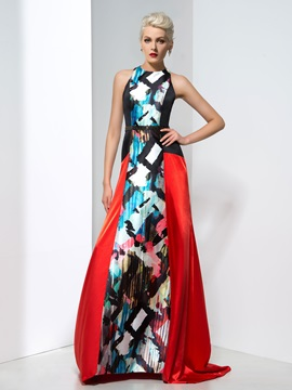 Attractive Jewel Neck Beaded Waist Long Printed Evening Dress