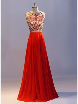 Luxurious Scoop Neck Beading A-Line Long Prom Dress