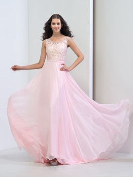 Fancy Scoop Neck Lace Beaded A-Line Long Pink Prom Dress