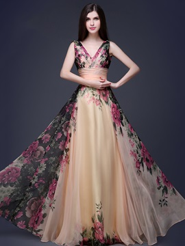 Stunning V-Neck Floral Print Prom Dress