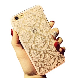 Retro Flower Damask Pattern Openwork Relief Printing Thin PC Material Phone Case For iPhone 6 Plus/6S