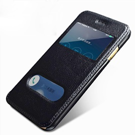 Fashion Smart windows Leather Clamshell smart leather case crash proof phone case for iPhone 6/6S Plus