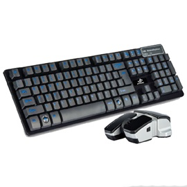 Black Wireless USB Interface Suspension Keypress Keyboard & Mouse Combo