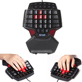 Delux T9 Professional Gaming Keyboard LED Backlight Double Space Key Bar CF CS LOL USB Wired Mini Portable Game Key Board