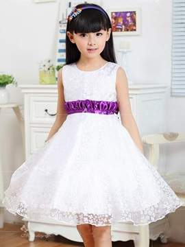 Purple Double Layered Girl's Lace Dress