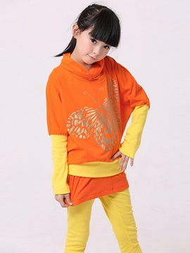 Print Double Layered Girl's Suit