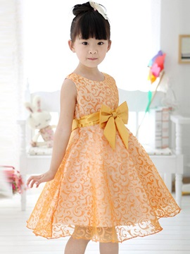 Golden Floral Print Bowknot Decorated Girl's Lace Dress
