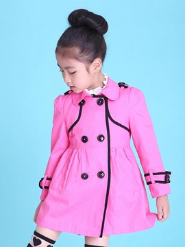 Solid Color Double-Breasted Lapel Girl's Coat