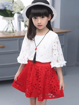 Half Sleeve Hollow Out Girl's Outfit