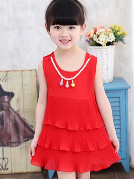 Pure Color Layered Girl's Dress
