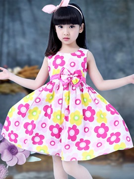 Flowers Printed Girl's Day Dress