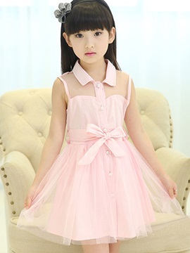 Pure Color Button-Front Girl's Dress