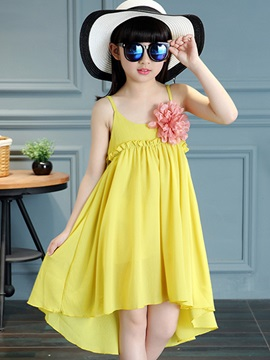 Flower Decorated High-Low Girl's Dress