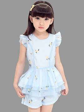 Stylish Printing Layered Girl's 2-Piece Outfit