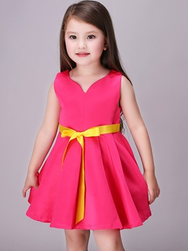 Pure Color Lace-Up Girl's Dress