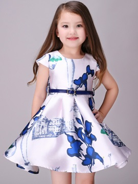 Architecture Floral Printed Belt-Tied Girl's Dress