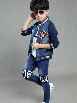 Fashion Letter Printed Color Block Patchwork Thread Collar Boy's Set