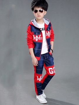Fashion Print Patchwork Hooded Two-Piece Boys' Outfits
