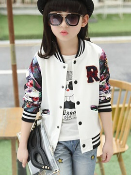 Tide Sweet Letter Dragonfly Appliques Thread Collar Girls' Outerwears