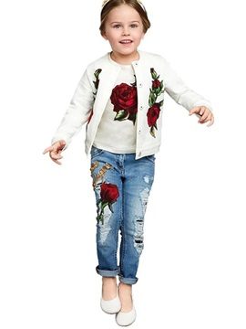 Chic Jacquard Tee Snaps Frayed Destroy Three-Piece Girls' Outfit