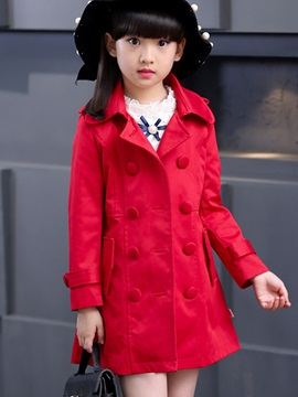 Sweet Double-Breasted Lapel Collar Bowknot Appliques Girls' Outerwear