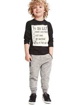 Casual Letter Printed Foot Beam Drawstring Two-Piece Boys' Outfit