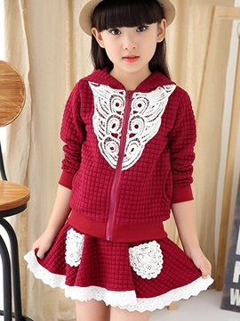 Sweet Crimp Fabric Lace Hollow  Girls' Outfit