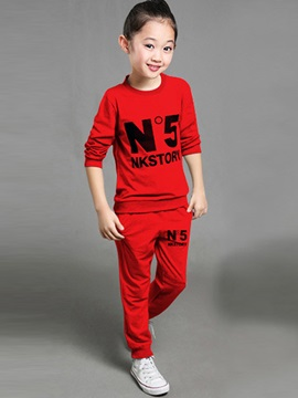 Casual Letter Printed Elastic Two-Piece Boys' Outfit