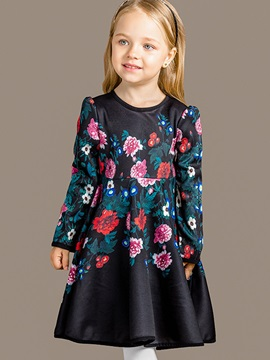 Chic Cut Sleeve Floral Printed Pleated Girls' Dress
