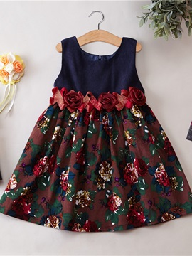 Floral Print Patchwork Girl's Dress