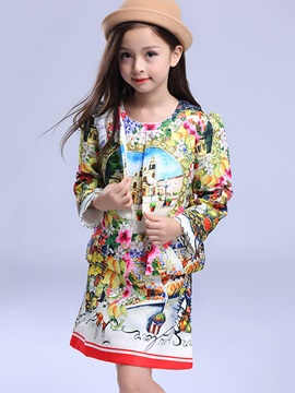Chic Vintage Printing Patchwork Two-Piece Girls' Dress