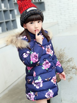 Floral Print Double-Breasted Girls Down Coat