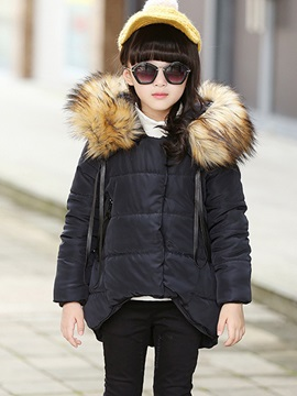 Warm Faux-Fur-Trim Thicking Girl's Overcoat