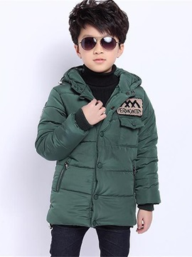 Plain Full-Zip Pocket Boy's Quilted Jacket
