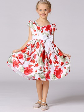 Floral Bowknot Designed Girl's Dress