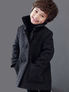 Warm Double-Breasted Boy's Overcoat