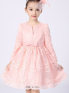 Elegant Lace V-Neck Girl's Dress
