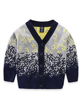 Stylish Single-Breasted Printing Boy's Cardigan