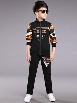Casual Color Block Zippper Boy's 2-Piece Outfit
