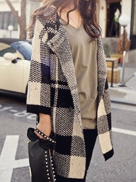 Multi Color Color Block V-neck Long Sleeve Plaid Cardigan