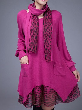 Fashion Double-Layer  Scarf  Loose  Sweater